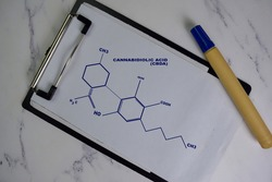 Cannabidiolic Acid molecule write on the paperwork. Structural chemical formula. Education concept