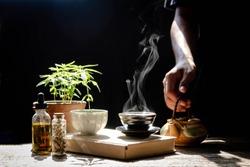 Cannabis capsules, hemp oil, hemp seed extract, along with hot hemp tea for medical use