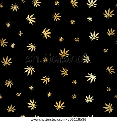 Cannabis Gold Leaf silhouette on black background. Gold Cannabis (Marijuana) Leafseamless. Seamless Marijuana Background. Silhouette of a Hemp Leaf. Rasterized copy