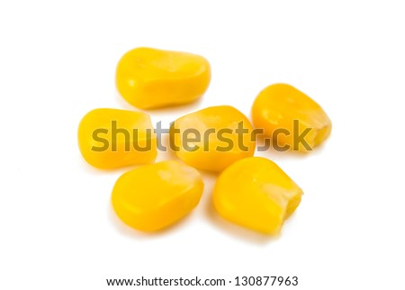 Canned Corn Close-Up On White Background
