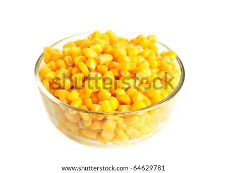 Canned corn in bowl isolated on white