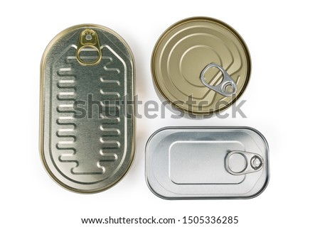 Canned fish in different sealed tin cans with easy openable lids on white background, top view