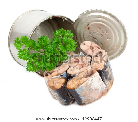 Canned fish with parsley - stock photo