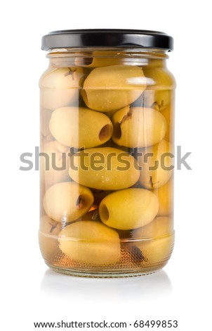 Canned green olives isolated on white background