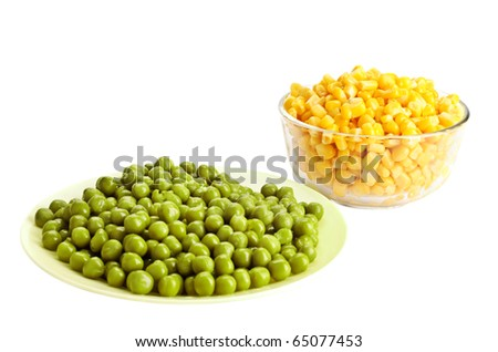 Canned green pea and corn on the white background