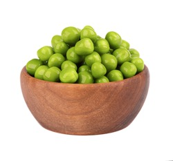 Canned green peas in wooden bowl, isolated on white background. Pickled green peas.