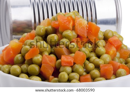 Canned peas and carrots from the tin.