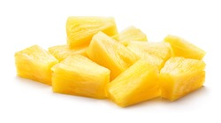 Canned pineapple chunks. Pineapple slices isolated. Pineapple pieces on white background.