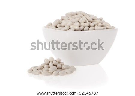 Cannellini beans or Haricot in a bowl isolated on a white background