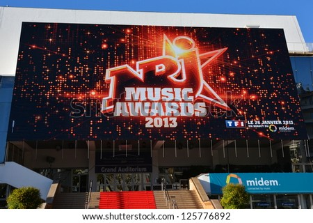 CANNES, FRANCE-JANUARY 24: Conference Hall  facade shown on January 24, 2013 in Cannes, France. MIDEM is the international market of publishing music, and the fourteenth ceremony of  NRJ Music Awards.