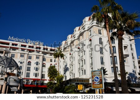 CANNES, FRANCE - JANUARY 17: Majestic palace shown on january 17, 2013 in Cannes, France. Majestic Barriere hotel is a luxury hotel containing 349 rooms, located in the famous festival film town.