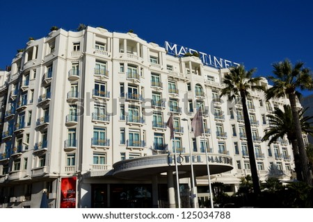 CANNES, FRANCE - JANUARY 17: Martinez facade palace shown on january 17, 2013 in Cannes, France. Martinez hotel is a luxury hotel containing 409 rooms, located in the famous film festival town.