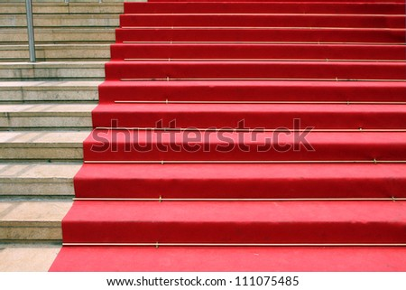 """CANNES, FRANCE - JUNE 13:  Red carpet, Palace of popular cinema festival, located on the famous """"La Croisette"""" Boulevard in Cannes, French Riviera, France, Europe; June 13, 2010 - stock photo"""