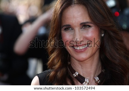 CANNES, FRANCE - MAY 26: Actress Andie MacDowell attends the 'Mud' Premiere during the 65th Annual Cannes Film Festival at Palais des Festivals on May 26, 2012 in Cannes, France.