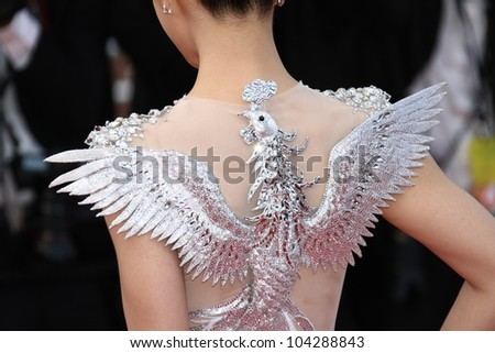 CANNES, FRANCE - MAY 17: Actress Chen Tingjia (dress detail) attends the 'De Rouille et D'os' Premiere during the 65th Cannes Film Festival at Palais des Festivals on May 17, 2012 in Cannes, France.