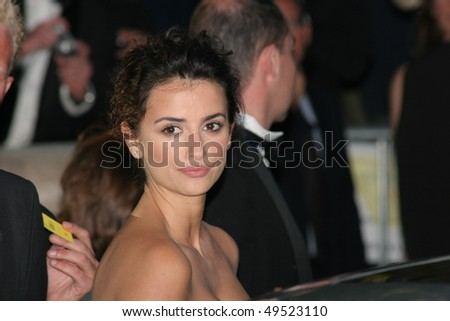 CANNES, FRANCE - MAY 19: Actress Penelope Cruz arrives at 'Cinema Against AIDS 2005',  at Le Moulin de Mougins at the 58th Cannes Film Festival on May 19, 2005 in Cannes, France - stock photo