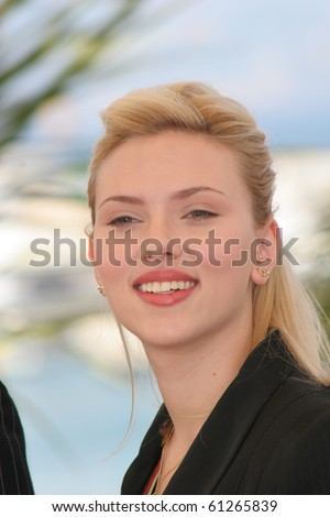 CANNES, FRANCE - MAY 12: Actress Scarlett Johansson attends a photocall promoting the film 'Match Point' at the Palais during the 58th  Cannes Film Festival on May 12, 2005 in Cannes, France - stock photo