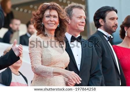 CANNES, FRANCE - MAY 20, 2014: Actress Sophia Loren at the 67th Annual Cannes Film Festival on May 20, 2014 in Cannes, France.
