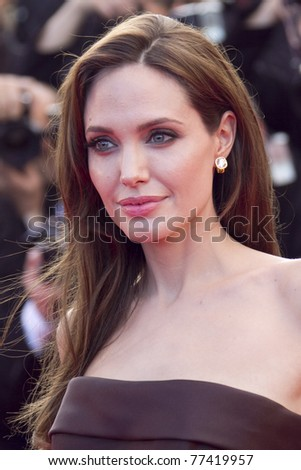 CANNES, FRANCE - MAY 16: Angelina Jolie attends 'The Tree Of Life' premiere during the 64th Annual Cannes Film Festival at Palais des Festivals on May 16, 2011 in Cannes, France. - stock photo