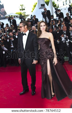 CANNES, FRANCE - MAY 16: Angelina Jolie, Brad Pitt attend 'The Tree Of Life' premiere during the 64th Annual Cannes Film Festival at Palais des Festivals on May 16, 2011 in Cannes, France.