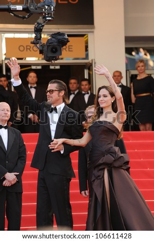 "CANNES, FRANCE - MAY 16, 2011: Brad Pitt & Angelina Jolie at the gala premiere of his new movie ""The Tree of Life"" in competition at the 64th Festival de Cannes. May 16, 2011  Cannes, France"