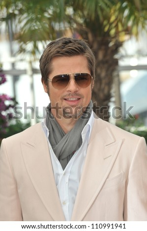 "CANNES, FRANCE - MAY 20, 2009: Brad Pitt at the photocall for his new movie ""Inglourious Basterds"" in competition at the 62nd Festival de Cannes."
