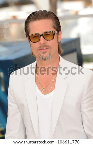 "CANNES, FRANCE - MAY 16, 2011: Brad Pitt at the photocall for his new movie ""The Tree of Life"" in competition at the 64th Festival de Cannes. May 16, 2011  Cannes, France"