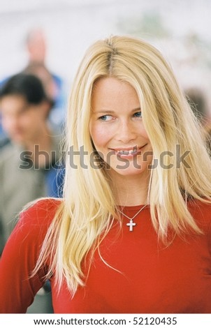 CANNES, FRANCE - MAY 15: Claudia Schiffer  at Cannes for L'Oreal hair models the Palais des Festivals on May 15, 2000 in Cannes, France