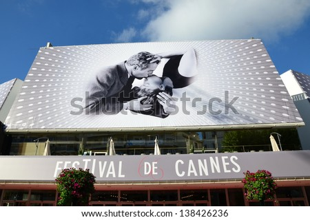 CANNES, FRANCE-MAY 14: Conference Hall facade shown on may 14, 2013 in Cannes, France.Palais des Festivals with the poster of the sixty sixth international movie festival rewarded by the golden palm.