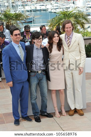 "CANNES, FRANCE - MAY 16, 2012: Director Wes Anderson, Kara Hayward, Jared Gilman & Roman Coppola at the photocall for ""Moonrise Kingdom"" at the 65th Festival de Cannes. May 16, 2012  Cannes, France"