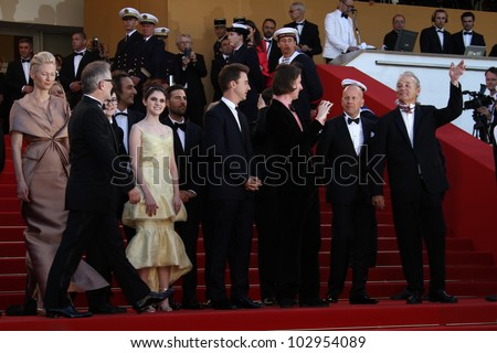 CANNES, FRANCE - MAY 16: Edward Norton, Bruce Willis, Tilda Swinton and Wes Anderson attend opening ceremony  during the 65th  Cannes Film Festival at Palais  on May 16, 2012 in Cannes, France.