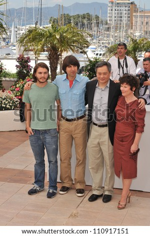 "CANNES, FRANCE - MAY 16, 2009: Emile Hirsh (left), Demetri Martin, director Ang Lee & Imelda Staunton at the photocall for their new movie ""Taking Woodstock"""