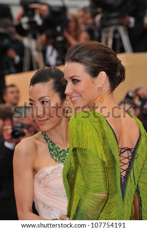 """CANNES, FRANCE - MAY 15, 2010: Evangeline Lilly & Michelle Yeoh at the premiere of Woody Allen's """"You Will Meet A Tall Dark Stranger"""" at the 63rd Festival de Cannes."""