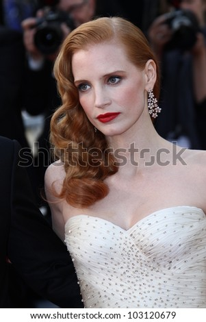 CANNES, FRANCE - MAY 18: Jessica Chastain attends the 'Madagascar 3: Europe's Most Wanted' Premiere during the 65th Cannes Festival at Palais  on May 18, 2012 in Cannes, France.