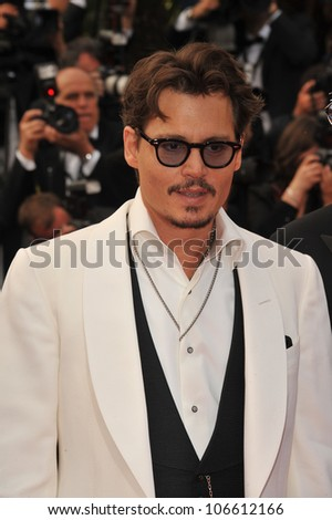 "CANNES, FRANCE - MAY 14, 2011: Johnny Depp at the gala screening for his movie ""Pirates of the Caribbean: On Stranger Tides"" at the 64th Festival de Cannes. May 14, 2011  Cannes, France"