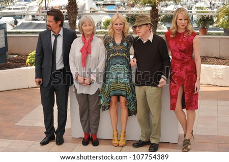 """CANNES, FRANCE - MAY 15, 2010: Josh Brolin (left), Gemma Jones, Naomi Watts, Woody Allen & Lucy Punch at the photocall for """"You Will Meet A Tall Dark Stranger"""" at the 63rd Festival de Cannes."""