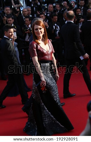 CANNES, FRANCE - MAY 15: Julianne Moore attends the 'Mr.Turner' Premiere at the 67th Annual Cannes Film Festival on May 15, 2014 in Cannes, France.