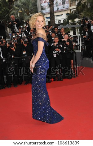 "CANNES, FRANCE - MAY 11, 2011: Karolina Kurkova at the gala premiere for ""Midnight in Paris"" the opening film at the 64th Festival de Cannes. May 11, 2011  Cannes, France"