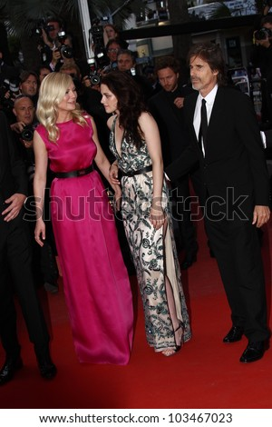 CANNES, FRANCE - MAY 23: Kristen Stewart, Walter Salles,Kirsten Dunst  attend the 'On The Road' Premiere during the 65th Cannes Film Festival at Palais des Festivals on May 23, 2012 in Cannes, France.