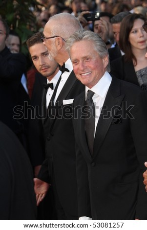 CANNES, FRANCE - MAY 14: Michael Douglas and Shia LaBeouf attends the Premiere of 'Wall Street 2' held at the Palais des Festivals during the 63  Cannes Film Festival on May 14, 2010 in Cannes, France - stock photo
