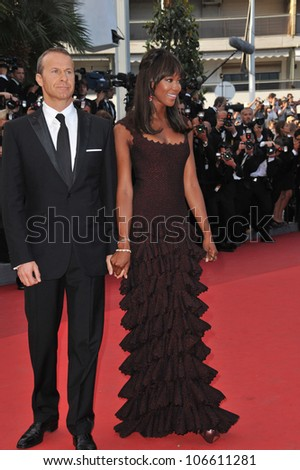 "CANNES, FRANCE - MAY 17, 2011: Naomi Campbell & Vladimir Doronin at the gala premiere of ""The Beaver"" in competition at the 64th Festival de Cannes. May 17, 2011  Cannes, France"