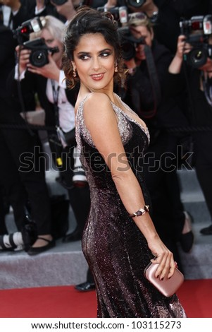 CANNES, FRANCE - MAY 18: Salma Hayek attends the 'Madagascar 3: Europe's Most Wanted' Premiere during 65th Annual Cannes Film Festival during at Palais des Festivals on May 18, 2012 in Cannes, France