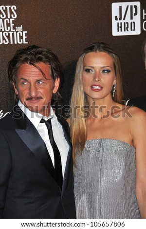 """CANNES, FRANCE - MAY 18, 2012: Sean Penn & Petra Nemcova at the """"Haiti Carnaval in Cannes"""" party at the 65th Festival de Cannes. May 18, 2012  Cannes, France"""