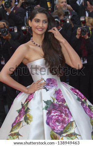 CANNES, FRANCE - MAY 16:  Sonam Kapoor attends the Premiere of 'Jeune & Jolie' (Young & Beautiful) at The 66th Annual Cannes Film Festival at Palais des Festivals on May 16, 2013 in Cannes, France.