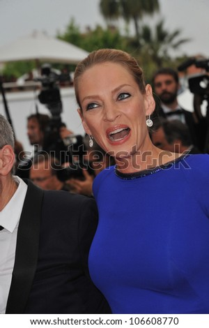 CANNES, FRANCE - MAY 22, 2011: Uma Thurman  at the 64th Festival de Cannes awards gala. May 22, 2011  Cannes, France