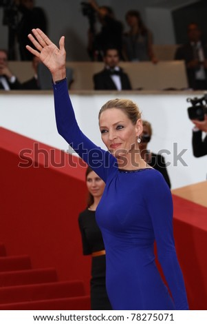 CANNES, FRANCE - MAY 22: Uma Thurman attends the 'Les Bien-Aimes' premiere at the Palais des Festivals during the 64th Cannes Film Festival at Palais des Festivals on May 22, 2011 in Cannes, France.