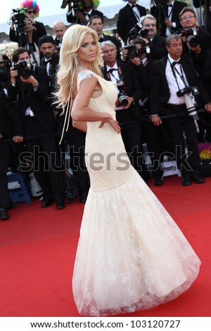 CANNES, FRANCE - MAY 18: Victoria Silvstedt attends the 'Madagascar 3: Europe's Most Wanted' Premiere during the 65th Cannes Festival at Palais des Festivals on May 18, 2012 in Cannes, France.