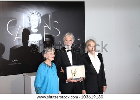 CANNES, FRANCE - MAY 27:  Winners of the Palme  for 'Amour', actress Emmanuelle Riva,  Michael Haneke,  pose at the Winners Photocall during the 65 Cannes  Festival on May 27, 2012 in Cannes, France.