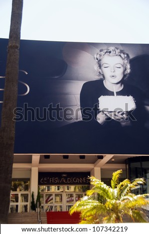 CANNES-MAY 15:  Otto Beckmann's iconic photo of Marilyn Monroe blowing out birthday cake candles at Cannes Film Festival in Cannes, France on May 15, 2012.