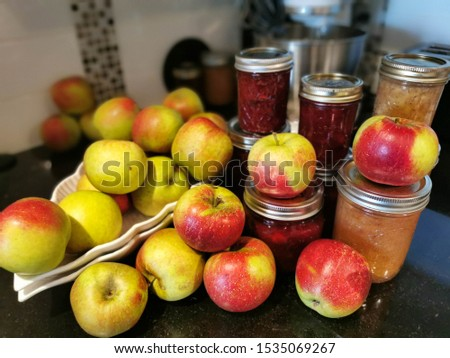 Canning Organic Applesauce Cranberry Jelly Apples Cinnamon Preserves Cranberries Fall and Autumn stock photo